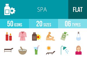 50 Spa Flat Colorful Icons