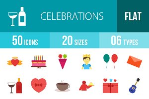 50 Celebrations Flat Colorful Icons