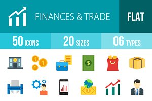 50 Finances & Trade Colorful Icons