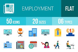 50 Employment Flat Colorful Icons