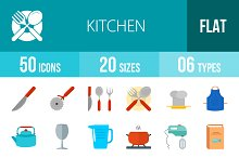50 Kitchen Flat Colorful Icons