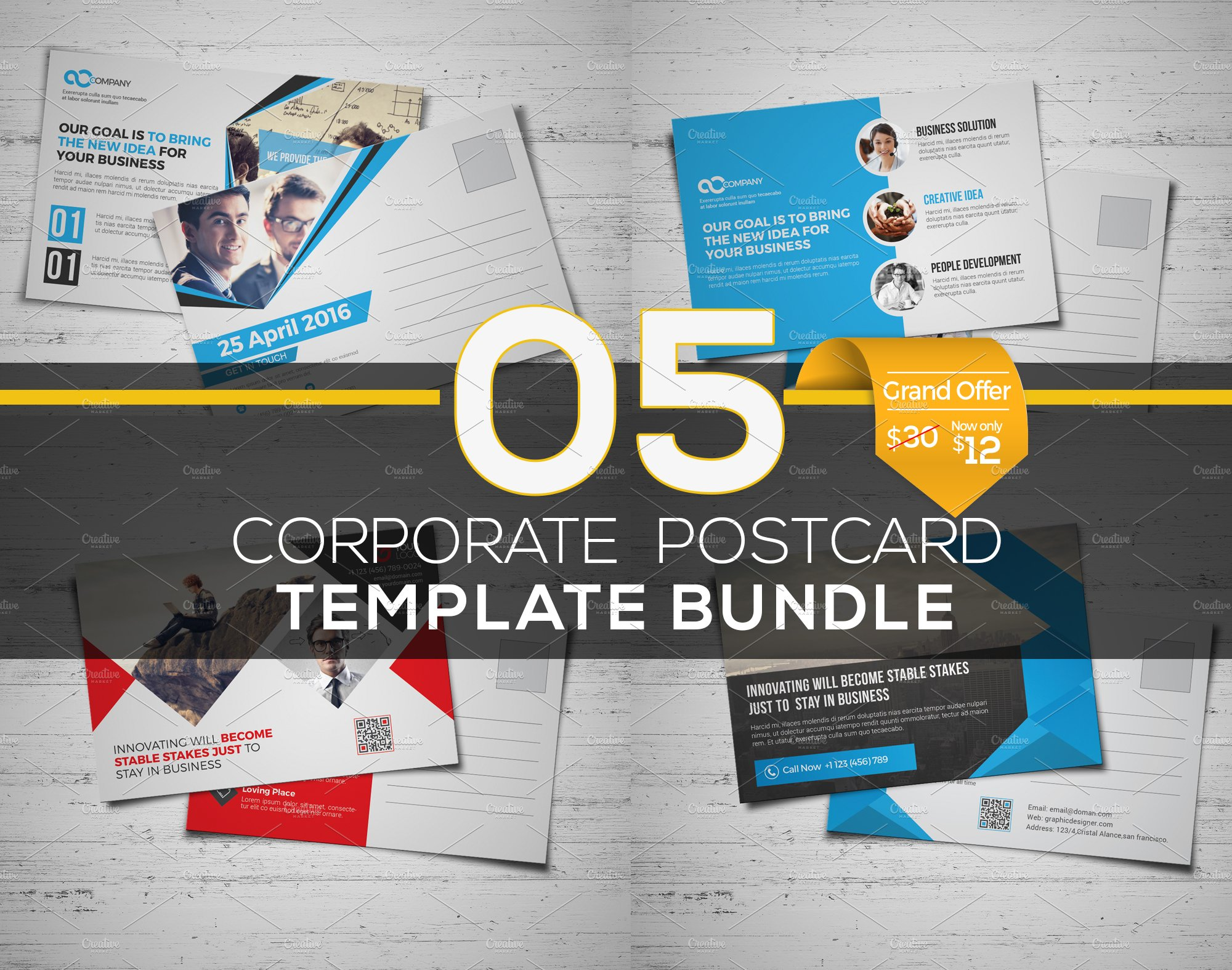 5 in 1 Postcard Template Bundle ~ Card Templates ~ Creative Market