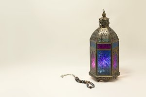 Oriental Colored Lantern with Rosary