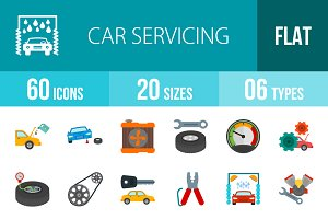 60 Car Servicing Flat Colorful Icons