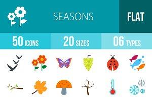 50 Seasons Flat Colorful Icons