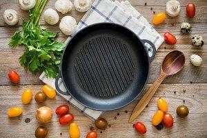 Healthy vegan cooking, flat lay