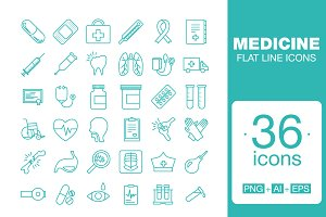 Medicine  icon set Flat line icons