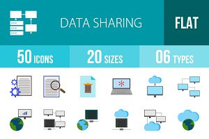 50 Data Sharing Flat Colorful Icons