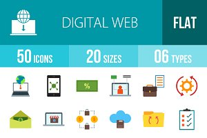 50 Digital Web Flat Colorful Icons