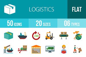 50 Logistics Flat Colorful Icons