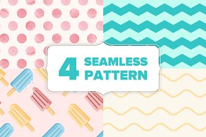 Ice cream summer 4 seamless pattern