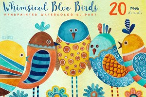 Whimsical Blue Birds