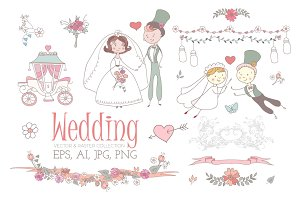Cartoon Wedding Set. Vector & Raster