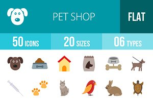 50 Pet Shop Flat Colorful Icons