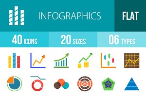 40 Infographics Flat Colorful Icons