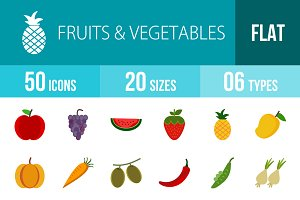 50 Fruits Flat Colorful Icons