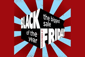 Black friday sale 3d vector template
