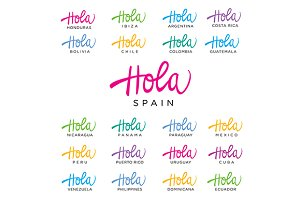 Hola Invitation Vector Set