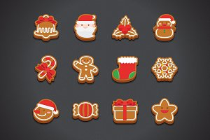 Flat Christmas Cookie Icons