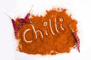 Hot Chilli word on powder