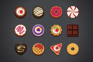 Flat Dessert Icons