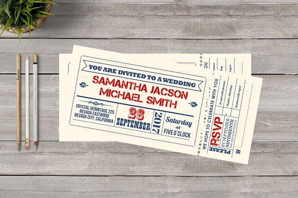 Ticket Wedding Invitation Invitations