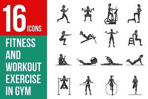 Vector set of gym icons