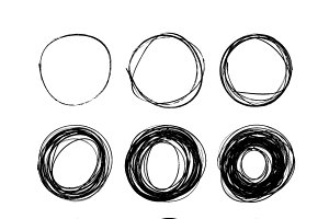 Nine hand drawn scribble circles