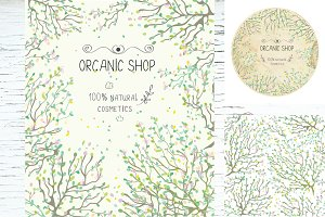 Organic eco shop design set