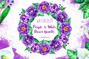 Watercolor Purple & White Flowers