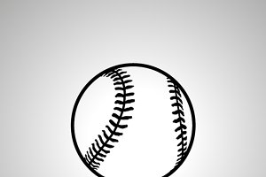 Baseball ball simple black icon