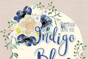 Vector Watercolor Indigo Blue