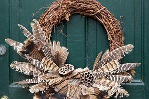 Traditional Christmas wreath on door