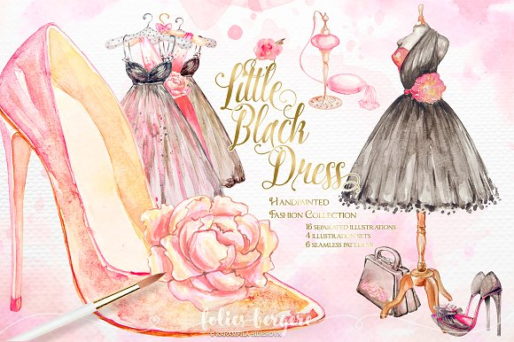 Little Black Dress Fashion Clipart ~ Illustrations ...