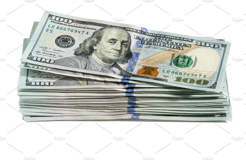 Pile of US $100 dollar bills ~ Business Photos ~ Creative Market