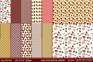 Java Love digital paper pack
