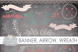 Vector laurel, arrow,wreath clipart
