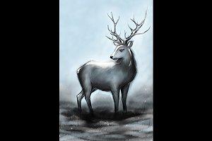 Winter snowy deer with big horns
