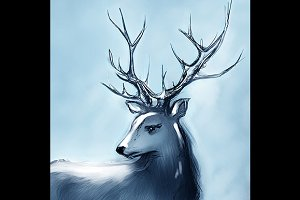 Winter snowy deer with big horns
