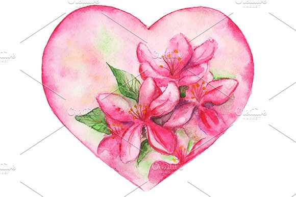 Pink floral romantic heart vector