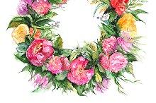 Watercolor flower wreath frame