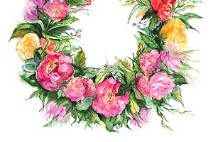 Watercolor flower wreath frame