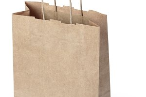 kraft paper shopping bag on white background.