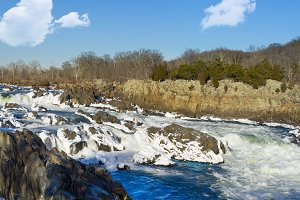 Great Falls on Potomac River in snow