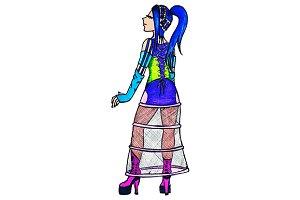 Anime manga cyber freak girl vector