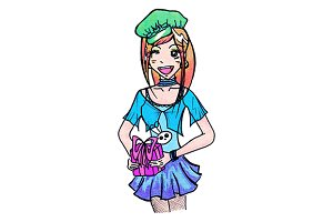 Anime cartoon girl with gift vector