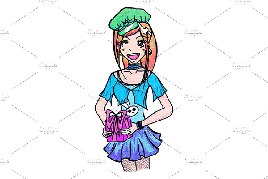 Anime cartoon girl with gift vector