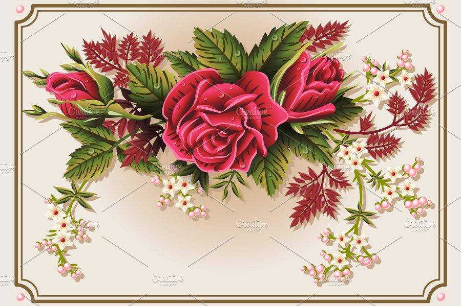 Roses Ornament on Vintage Frame ~ Illustrations ~ Creative Market