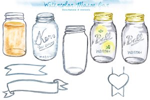 Watercolor Mason Jar Clipart