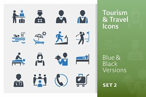 Tourism & Travel Icons Set 2 | Blue